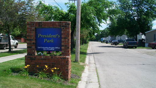 Presidentsparkgrandforksnorthdakotamobilehomesforrentforsale entrancesign2