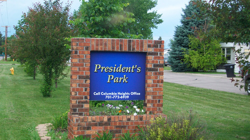 Presidents Park Grand Forks North Dakota Mobile Homes For Rent For Sale Entrance Sign